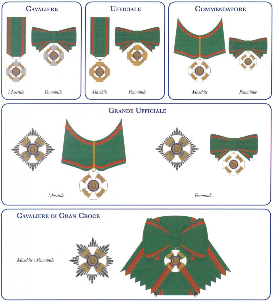 Insegne dell'Ordine al Merito della Repubblica Italiana - O.M.R.I.