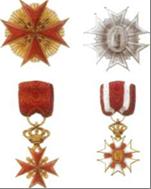 A sinistra: insegne dell'Ordine di Santo Stefano Papa e Martire A destra: insegne dell'Ordine al Merito sotto il Titolo di San Giuseppe