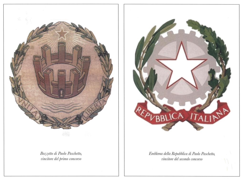 Emblemi della Repubblica Italiana disegnati da Paolo Paschetto